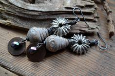 Rustic ceramic earrings Boho chic earrings Gypsy by JeSoulStudio