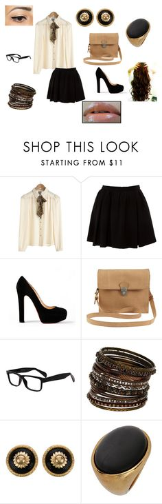 """""""Brown & Black"""" by mary-5so1ds ❤ liked on Polyvore featuring Miso, Christian Louboutin, VILA, Wallis and Chanel"""