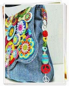 Repurposed Denim bag with crochet details, ribbons, beads - such a fun bag!