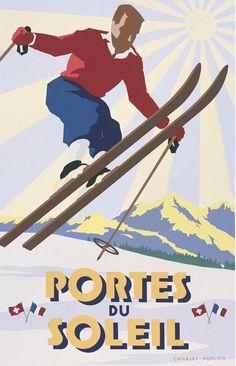 'Portes du Soleil: Skier in Flight' - by Charles Avalon - Vintage travel posters - Winter Sports posters - Art Deco - Pullman Editions Ski Vintage, Vintage Ski Posters, Ski Suisse, Evian Les Bains, Luxury Ski Holidays, Snow Fun, Retro Illustration, Snow Skiing, Switzerland