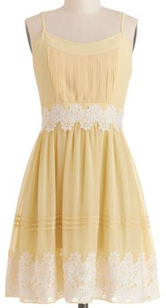 Pretty yellow dress with lace detail http://rstyle.me/n/ffuuqnyg6