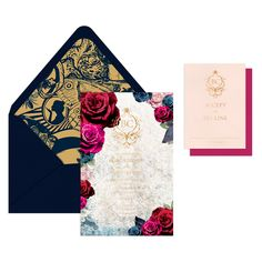 Haley Invitation Suite / Design Your Own / Invitation Envelope / Invitation / Bright Floral / Wonderland Gold Liner / Gold Foil / Navy Envelope / Blush Reply Card / Berry Reply Envelope / #myownblissandbone