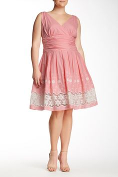 V Neck A-Line Crochet Inset Dress (Plus Size) by SL Fashions on @nordstrom_rack