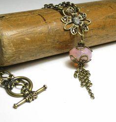 Pink Opal Vintage Style Necklace Antiqued Brass by jewelrybyNaLa, $28.50