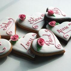 decorated cookies, wedding cookies, logo cookies, baby cookies, love cookies - Custom Cookie Co (UK) Rose Cookies, Baby Cookies, Heart Cookies, Valentine Cookies, Iced Cookies, Valentines, Food Wedding Favors, Wedding Cookies, Personalized Cookies