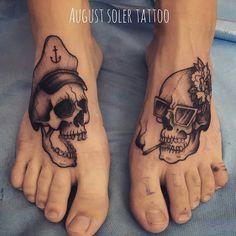 Cool Skull Foot Tattoo Designs for Men