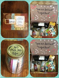 Made this for my boyfriend for our 6 month anniversary! Awesome box filled with a bunch of heart felt things. I made a jar filled with 365 slips of paper called pick me ups, one for everyday of the year! Wine, sun glasses, hot sauce, movie card and pictures hung on paper clips to hang around his room. It deff was a success!