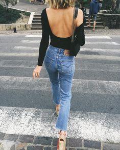 Blogger Adenorah (@adenorah)  wearing the Cotton Spandex L/S Double U Bodysuit