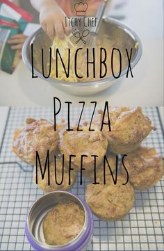 Quick, easy, freezer friendly lunchbox pizza muffins.