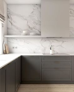 Kitchen Room Design, Kitchen Dinning, Home Room Design, Modern Kitchen Design, Home Decor Kitchen, Interior Design Kitchen, Home Kitchens, Dark Kitchens, Modern Grey Kitchen