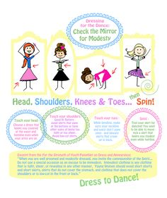 """Using the words from the popular kids song """"Head, Shoulders, Knees & Toes,"""" this is a poster to help young women keep Later-day Saint (Mormon) modesty standards when dressing for a dance."""