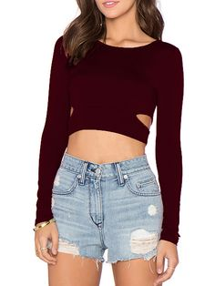 Wine Red Cut Out Punk Comfortable Halloween Eve Sexey Crop T-Shirt 8.99