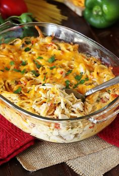 Turketti {aka: Leftover Turkey Spaghetti Casserole} in a Baking Dish Image