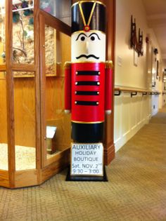 I made this nutcracker from a Quick Form (cement form) that I painted into four sections, the arms are mailing tubes, the face jacket are made from stick on felt pieces I cut into shapes. I added gold buttons, ribbon and fringe on the shoulders. It sits on a 2 foot wooded base.