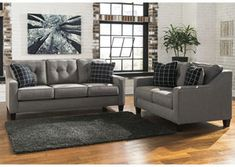 2 pc Brindon collection charcoal fabric upholstered sofa and love seat set with squared arms. This set includes the Sofa and Love seat featuring squared arms. Sofa measures x x H. Love seat measures x x H. Optional chair and ottoma City Furniture, Cheap Furniture, Pallet Furniture, Living Room Furniture, Cottage Furniture, Antique Furniture, Outdoor Furniture, Luxury Furniture, Furniture Online