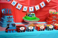 Amazing Thomas the Train kids birthday party by Cherry On Top Parties! Decoratio… Amazing Thomas the Train kids birthday party by Cherry On Top Parties! Decorations, activities, games, favors, and more! 1st Birthday Games, Thomas Birthday Parties, Thomas The Train Birthday Party, Birthday Party Snacks, Trains Birthday Party, Birthday Party Tables, Birthday Kids, Table Party, Table 19