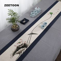 Kung Fu, Paint Runner, Zen Style, Tea Tray, Fall Table, Online Painting, Chinese Painting, Fabric Painting, Table Runners