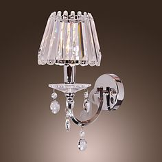 40W Contemporary Crystal Wall Light with 1 Light in Candle Feature – USD $ 119.99