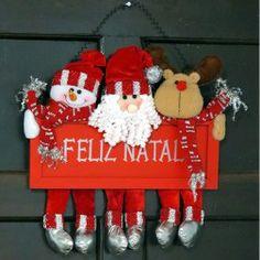 Enfeite de Natal para Porta Papai Noel e seus Amigos - Prata R$ 49.90 #natal