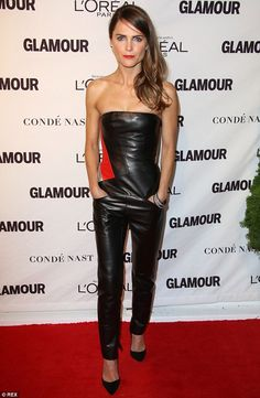Karlie Kloss and Doutzen Kroes shine at Glamour Women Of Year Awards - - Going against the grain: While most of the attendees wore dresses, Keri Russell (L) and Zosia Mamet went for trouser looks Source by oldtings Leather Bodysuit, Leather Jumpsuit, Leather Pants, Keri Russell Style, Sexy Outfits, Fashion Outfits, Women's Fashion, Freida Pinto, Leather Dresses