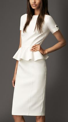 Tailored Pleat Peplum Dress   Burberry