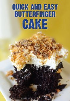 Looking for a unique cake to have at your upcoming party? Celebrate your next bash with a Butterfinger Cake! Covered with a whipped topping, a caramel glaze and crispety, crunchety, peanut-buttery BUTTERFINGER® candy bars, your guests will enjoy each and every bite of this flavorful indulgence.