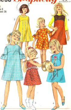 Vintage Sewing Pattern Simplicity 6903 Girls One-Piece Dress or Jumper Pattern Size 8 Breast 26 by SewYesterdayPatterns on Etsy Childrens Sewing Patterns, Simplicity Sewing Patterns, Sewing For Kids, Vintage Sewing Patterns, Clothing Patterns, Kid Clothing, Sewing Kids Clothes, Vintage Clothing, Vintage Outfits