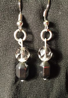 Hematite and Glass Bead Earrings by BoomChakraLaka on Etsy