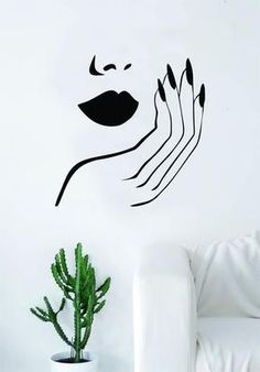 beauty Room logo - Lips and Nails Wall Decal Sticker Vinyl Room Decor Art Girls Stylist Logo Female Hair Spa Shop Beauty Salon Make Up Home Nail Salon, Nail Salon Design, Hair Salon Interior, Salon Art, Salon Interior Design, Luxury Interior, Interior Paint, Privates Nagelstudio, Living Room Quotes