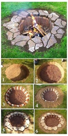 Diy Fire Pit, Fire Pit Backyard, Backyard Patio, Backyard Landscaping, Patio Stone, Flagstone Patio, Concrete Patio, Patio Table, Landscaping Ideas