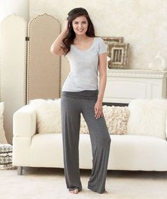 These Women's Super-Soft Knit Lounge Pants will keep you comfortable and stylish when you're lounging, working out or running errands. These women's lounge pants are ideal for relaxing around the house or for active wear. The rollover waist provides