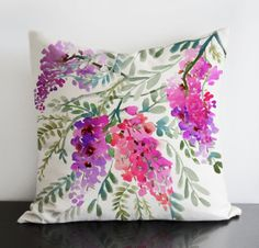 """Wisteria original design in radiant orchid colours -linen/cotton Pillow Cover with invisible zipper. Available 16""""sq, 18""""sq, 20""""sq"""