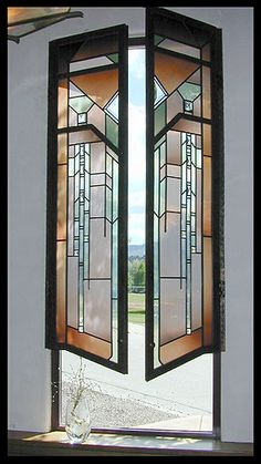 Crystal Glass Studio - Frank Lloyd Wright style leaded stained glass shutters