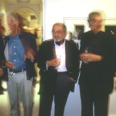 Henry Talbot and Lewis Morley photographer at Byron Mapp Gallery Exhibition of their own work with David Moore, 1998. © Eric Sierins photo.