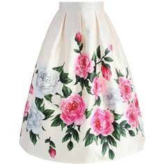 Chicwish Retro Felicitous Peony Printed Midi Skirt ($42) ❤ liked on Polyvore featuring skirts, white, flower midi skirt, flower skirt, box pleat skirt, mid calf skirts and midi skirt