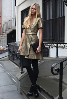 Fashion blogger Jessica Stein wearing Michael Lo Sordo dress, vintage YSL handbag, Zara heels, Uniqlo thermal tights.