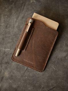 """Dante"" Walnut Brown Handmade Leather Notebook Sleeve"