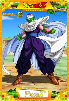 Dragon Ball Z - Piccolo Lineart and Colour by Raykugen Background by Bejitsu Card Design by , Raykugen , , & Dragon Ball Z - Piccolo Dbz, Cartoon Shows, Anime Shows, Dragon Ball Z, Desenhos Cartoon Network, Medvedeva, Manga Games, Son Goku, Art Reference