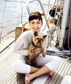 Boating  crushculdesac:  Phil Collins's daughter, Lily Collins as Audrey Hepburn in Tatler via {HappinessIs…}    Love! Look at that precious Yorkie!