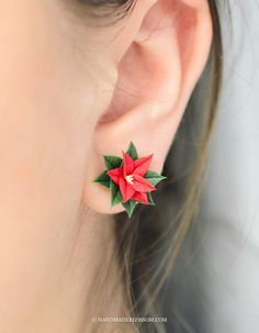 Red poinsettia studs Christmas flower earrings gift for your friend Tiny red floral jewelry Size of flowers 1,5cm (5/8 inch) Made of baked polymer clay and not fragile