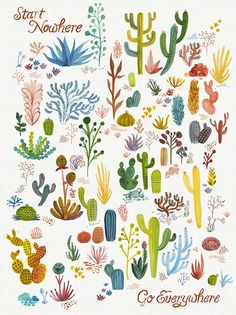 "Poster print ""Cactus""  limited edition, hand silk screened"