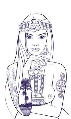 Illustration Children of Earth The Black Cauldron, Black Sails, Political Art, Egyptian Art, Mermaid Art, Girl Tattoos, Tatoos, Adult Coloring Pages, Peace And Love