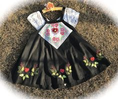 Izzy Roo  Sweetheart Cookie Jumper/ Dress Vintage Hankie Appliques Embroidery Black Beauty with Nordic Hearts and Florals