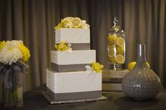 gray and yellow wedding decor, lemon centerpieces, a good affair wedding design, simply sweet cakery, gray and yellow cake