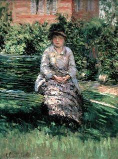 Gustave Caillebotte, Madame Renoir in the Garden at Petit-Gennevilliers,  on ArtStack #gustave-caillebotte #art