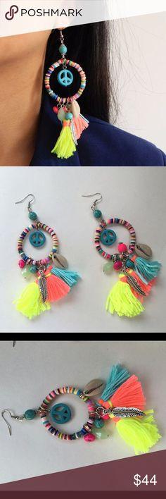 """Tasseled peace earrings Boho tasseled earrings. Length: 4.9"""" Jewelry Earrings"""