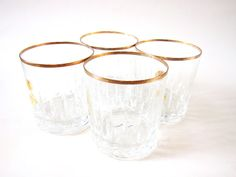 Vintage Gold Rim Lead Crystal Tumblers - Four Lowball 'Cristallerie Zwiesel' German Crystal Glasses. $32.00, via Etsy.