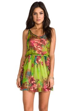 Gypsy Junkies Haze Pleated Mini in Lime Neon Bloom from REVOLVEclothing