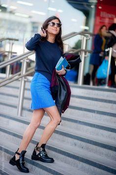 Shades of blue and Balenciaga booties.