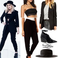 In another shot, she is wearing an ASOS Boudoir Lace Bandeau ($24.92), the ASOS Trousers With Ankle Zip Cuffs (Sold Out), a notch lapel blazer similar to this by 2nd Day, the ASOS Wide Brim Fedora Hat (Sold Out) and a pair of Cheap Monday Cube Deep Black Heeled Shoe Boots ($124.59).